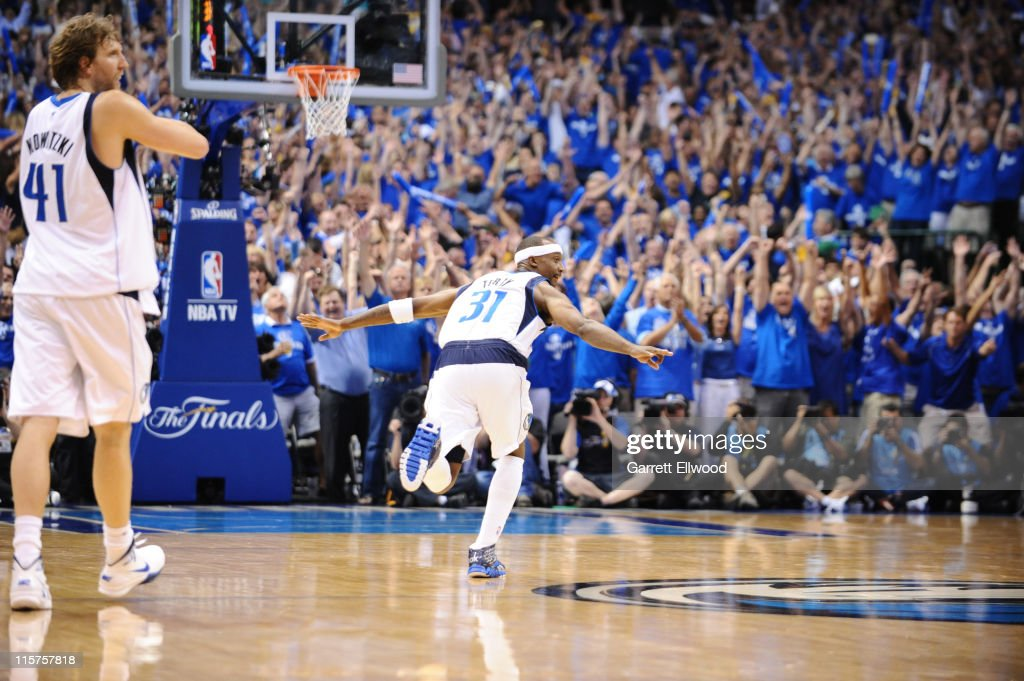 Jason Terry #31 of the Dallas Mavericks reacts after hitting a three point shot against the Miami Heat during Game Five of the 2011 NBA Finals on June 9, 2011 at the American Airlines Center in Dallas, Texas.
