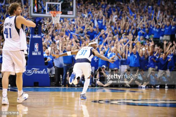 Jason Terry of the Dallas Mavericks reacts after hitting a three point shot against the Miami Heat during Game Five of the 2011 NBA Finals on June 9...