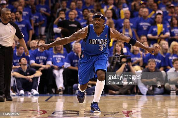 Jason Terry of the Dallas Mavericks reacts after making a three-pointer in the second half against the Oklahoma City Thunder in Game Four of the...