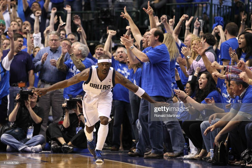 Jason Terry #31 of the Dallas Mavericks reacts in the late in the fourth quarter while taking on the Oklahoma City Thunder in Game One of the Western Conference Finals during the 2011 NBA Playoffs at American Airlines Center on May 17, 2011 in Dallas, Texas.