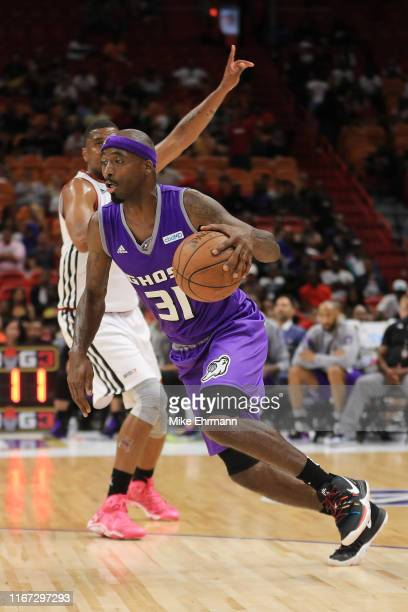 Jason Terry of the Ghost Ballers drives to the basket against Trilogy during week eight of the BIG3 three on three basketball league at...