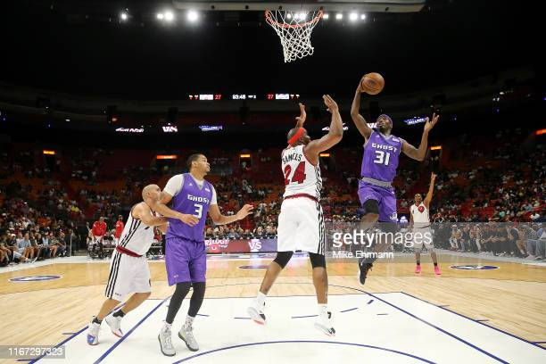 Jason Terry of the Ghost Ballers goes up for a layup against Trilogy during week eight of the BIG3 three on three basketball league at...