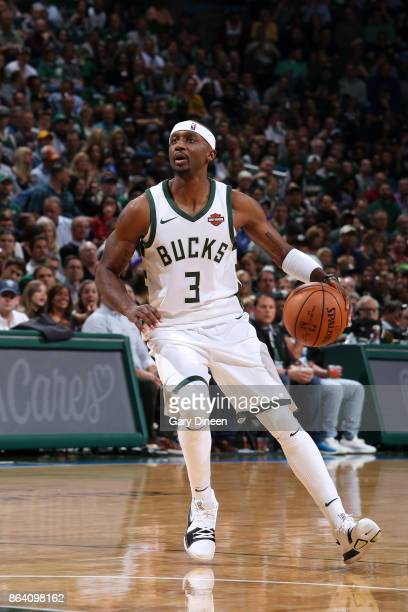 Jason Terry of the Milwaukee Bucks handles the ball against the Cleveland Cavaliers on October 20 2017 at the BMO Harris Bradley Center in Milwaukee...
