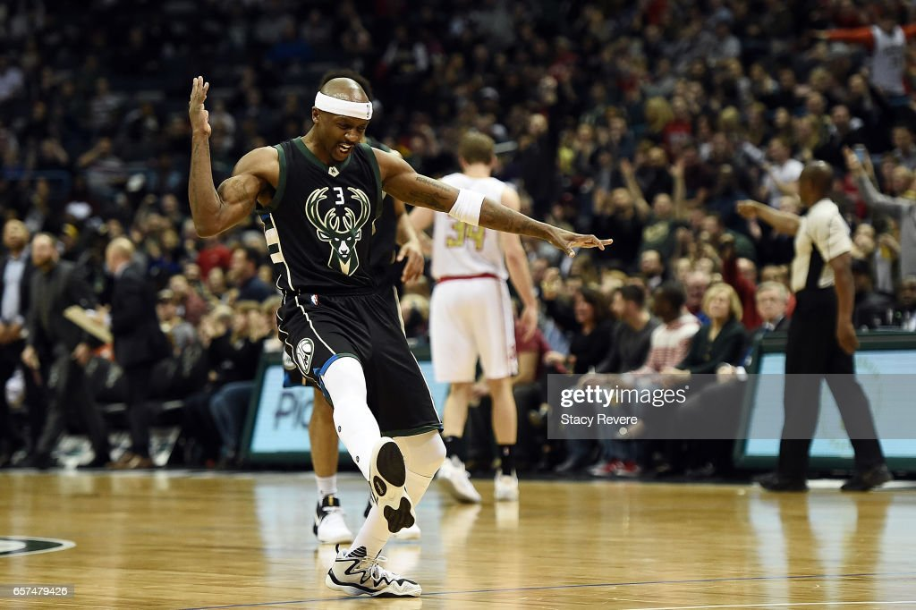 Jason Terry #3 of the Milwaukee Bucks reacts to a three point shot against the Atlanta Hawks during the first half of a game at the BMO Harris Bradley Center on March 24, 2017 in Milwaukee, Wisconsin.