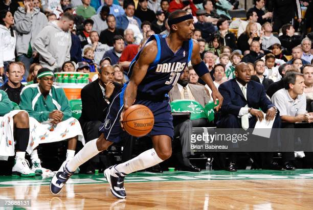 Jason Terry the Dallas Mavericks runs up court against the Boston Celtics on March 23 2007 at the TD Banknorth Garden in Boston Massachusetts NOTE TO...