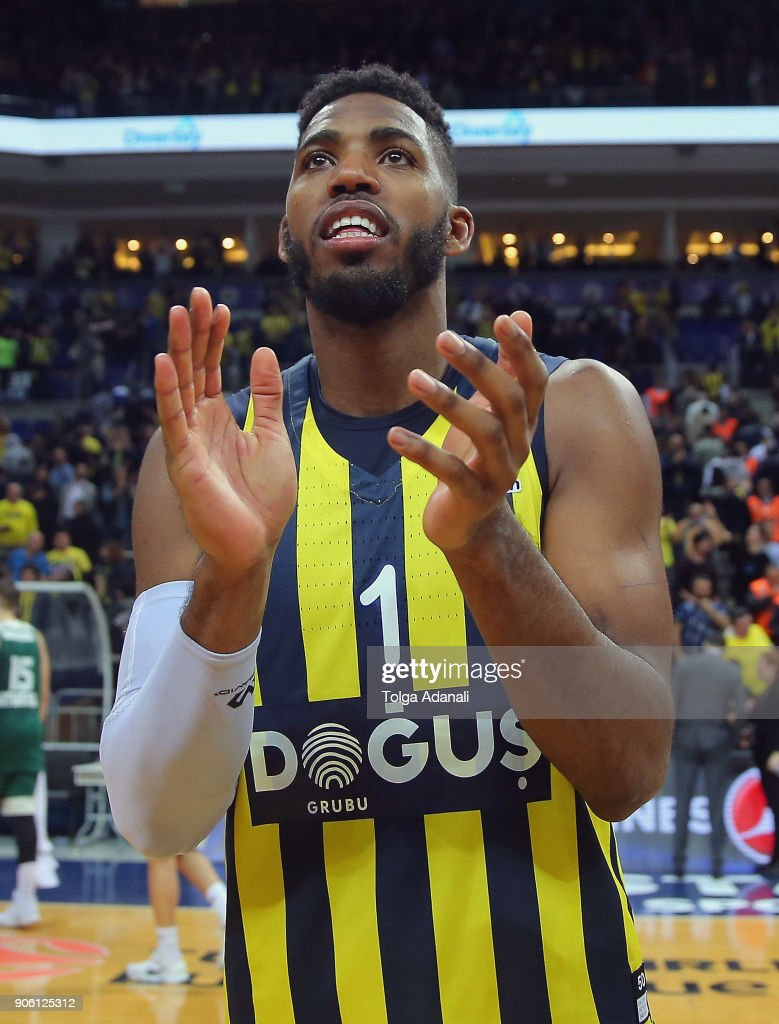 Jason Thompson, #1 of Fenerbahce Dogus celebrates victory during the 2017/2018 Turkish Airlines EuroLeague Regular Season Round 18 game between Fenerbahce Dogus Istanbul and Panathinaikos Superfoods Athens at Ulker Sports and Event Hall on January 17, 2018 in Istanbul, Turkey.