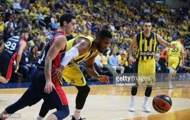 Jason Thompson #1 of Fenerbahce Dogus in action during the Turkish Airlines Euroleague Play Offs Game 1 between Fenerbahce Dogus Istanbul v Kirolbet...