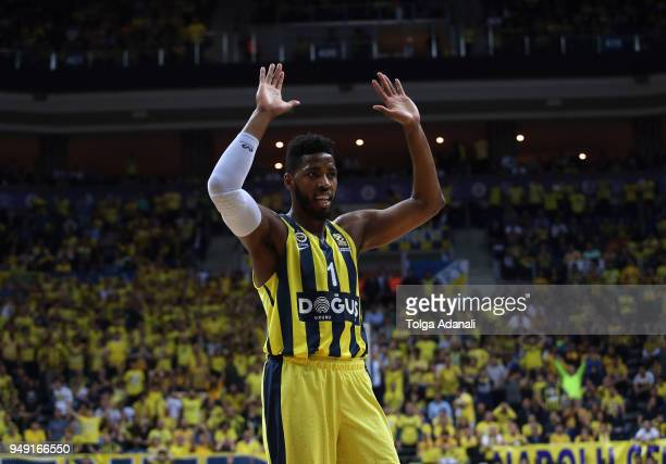 Jason Thompson #1 of Fenerbahce Dogus in action during the Turkish Airlines Euroleague Play Offs Game 2 between Fenerbahce Dogus Istanbul v Kirolbet...