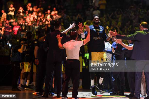 Jason Thompson #1 of Fenerbahce Dogus Istanbul before the 2018 Turkish Airlines EuroLeague F4 Semifinal B game between Fenerbahce Dogus Istanbul v...