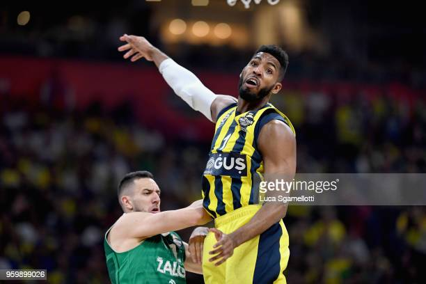 Jason Thompson #1 of Fenerbahce Dogus Istanbul during the 2018 Turkish Airlines EuroLeague F4 Semifinal B game between Fenerbahce Dogus Istanbul v...