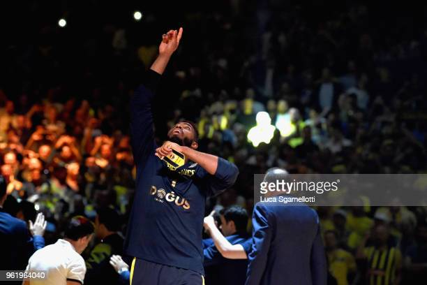 Jason Thompson #1 of Fenerbahce Dogus Istanbul during the presentation before 2018 Turkish Airlines EuroLeague F4 Championship Game between Real...
