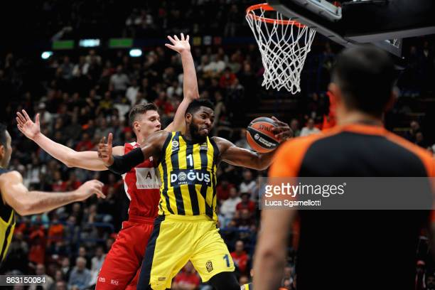 Jason Thompson #1 of Fenerbahce Dogus Istanbul in action during the 2017/2018 Turkish Airlines EuroLeague Regular Season Round 2 game between AX...