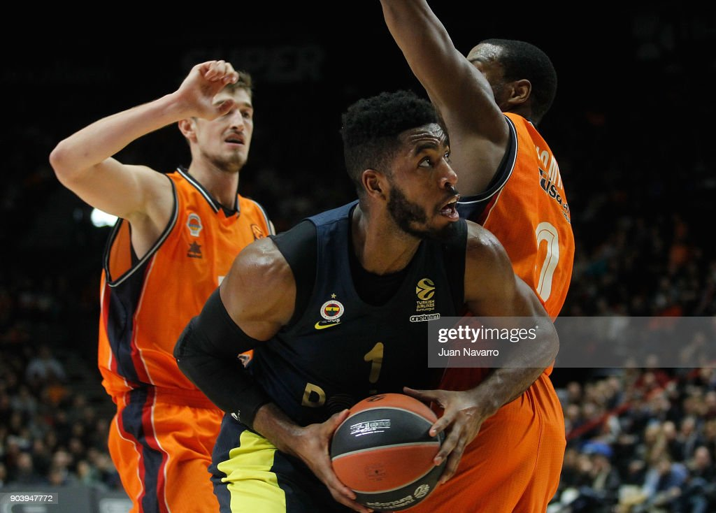 Jason Thompson, #1 of Fenerbahce Dogus Istanbul in action during the 2017/2018 Turkish Airlines EuroLeague Regular Season Round 17 game between Valencia Basket and Fenerbahce Dogus Istanbul at Pabellon Fuente De San Luis on January 11, 2018 in Valencia, Spain.