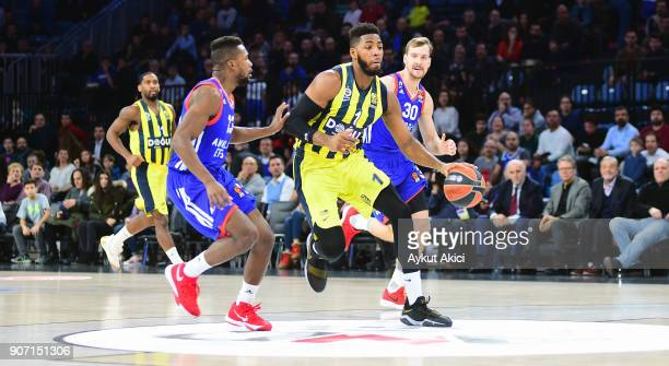 Jason Thompson #1 of Fenerbahce Dogus Istanbul in action during the 2017/2018 Turkish Airlines EuroLeague Regular Season Round 19 game between...