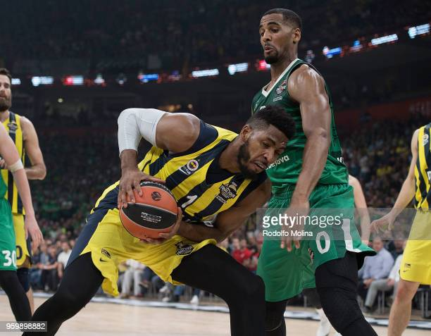 Jason Thompson #1 of Fenerbahce Dogus Istanbul in action during the 2018 Turkish Airlines EuroLeague F4 Semifinal B game between Fenerbahce Dogus...