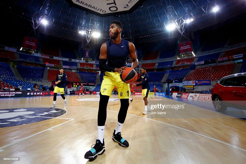 Jason Thompson, #1 of Fenerbahce Dogus Istanbul warm up during the 2017/2018 Turkish Airlines EuroLeague Regular Season game between Baskonia Vitoria Gasteiz and Fenerbahce Dogus Istanbul at Fernando Buesa Arena on November 30, 2017 in Vitoria-Gasteiz, Spain.