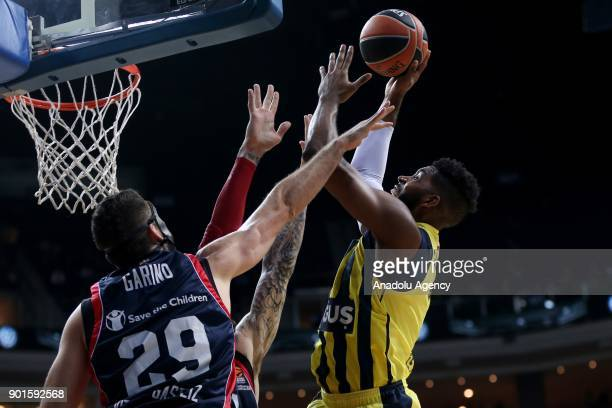 Jason Thompson of Fenerbahce Dogus in action against Partricio Garino of Baskonia during the Turkish Airlines Euroleague week 16 basketball match...