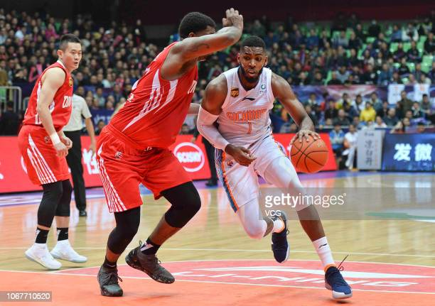 Jason Thompson of Sichuan Blue Whales controls the ball during the 2018/2019 Chinese Basketball Association League 11th round match between Sichuan...