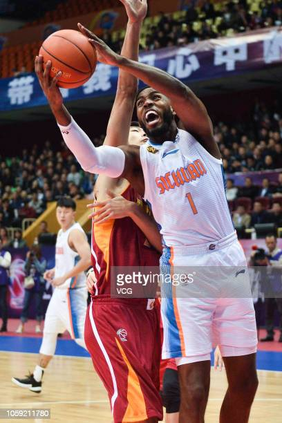 Jason Thompson of Sichuan Blue Whales handles the ball during the 2018/2019 Chinese Basketball Association League second round match between Sichuan...