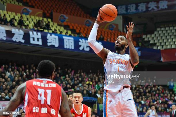 Jason Thompson of Sichuan Blue Whales jumps to shoot the ball during the 2018/2019 Chinese Basketball Association League 11th round match between...
