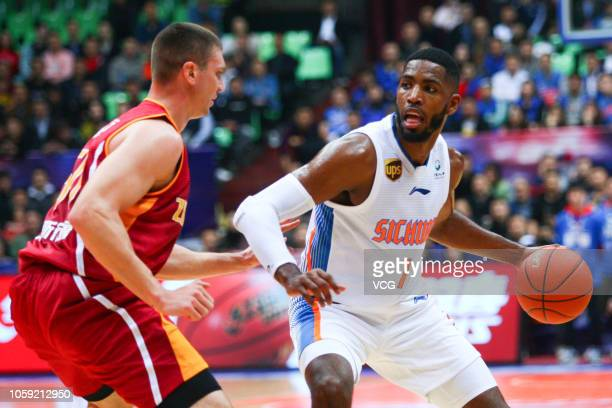 Jason Thompson of Sichuan Blue Whales shoots the ball during the 2018/2019 Chinese Basketball Association League second round match between Sichuan...