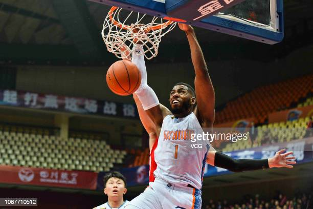 Jason Thompson of Sichuan Blue Whales shoots the ball during the 2018/2019 Chinese Basketball Association League 11th round match between Sichuan...
