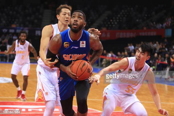 Jason Thompson of Sichuan Jinqiang Blue Whales drives the ball during the 2018/2019 Chinese Basketball Association League fifth round match between...