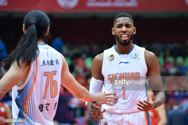 Jason Thompson of Sichuan Jinqiang Blue Whales reacts during the 2018/2019 Chinese Basketball Association League seventh round match between Sichuan...