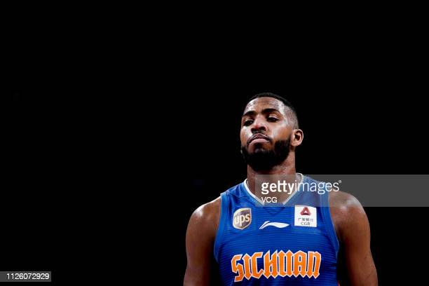 Jason Thompson of Sichuan Jinqiang Blue Whales reacts during the 2018/2019 Chinese Basketball Association League 37th round match between Guangdong...