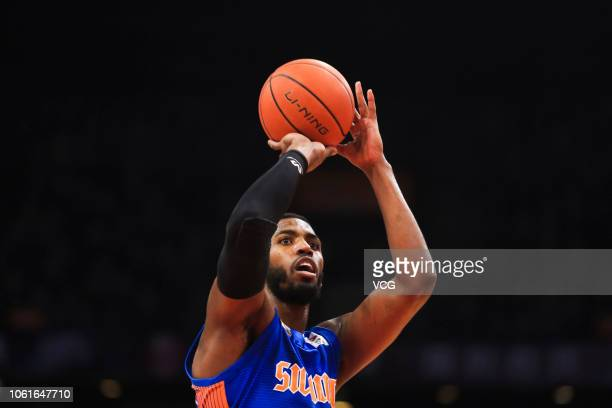 Jason Thompson of Sichuan Jinqiang Blue Whales shoots the ball during the 2018/2019 Chinese Basketball Association League fifth round match between...