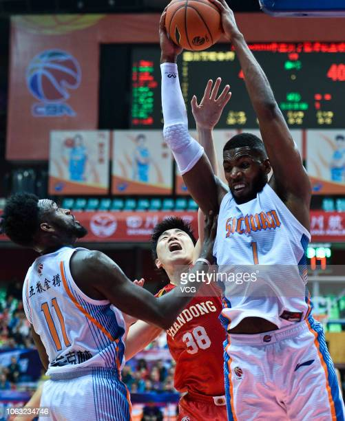 Jason Thompson of Sichuan Jinqiang Blue Whales shoots the ball during the 2018/2019 Chinese Basketball Association League seventh round match between...