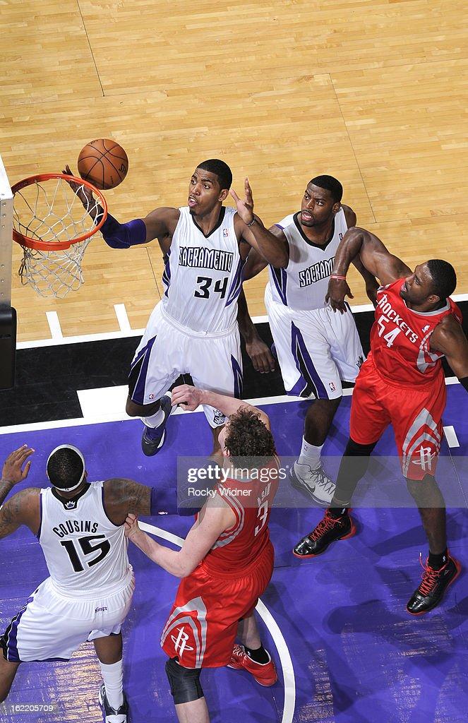 Jason Thompson #34 of the Sacramento Kings rebounds against the Houston Rockets on February 10, 2013 at Sleep Train Arena in Sacramento, California.