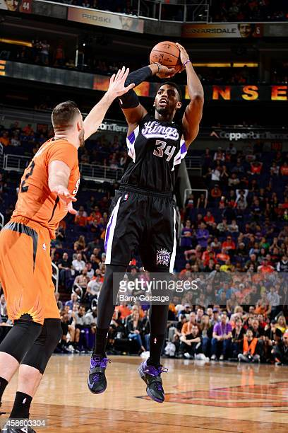 Jason Thompson of the Sacramento Kings shoots against the Phoenix Suns on November 7 2014 at US Airways Center in Phoenix Arizona NOTE TO USER User...