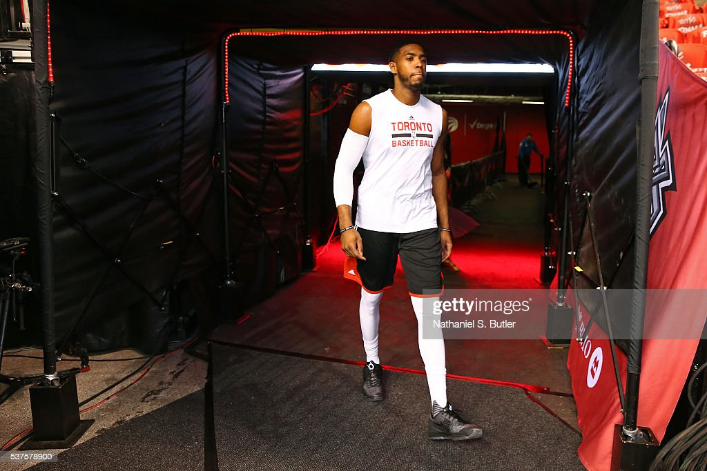 Jason Thompson #1 of the Toronto Raptors walks to the court before Game Six of the NBA Eastern Conference Finals against the Golden State Warriors at Air Canada Centre on May 27, 2016 in Toronto, Ontario, Canada.