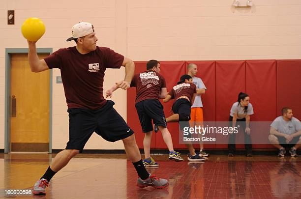 Jason Tilley of East Boston aims a shot during a coed dodgeball game at Watertown Middle School on Dec 11 2012