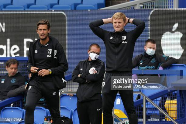 Jason Tindall and Eddie Howe of Bournemouth during the Premier League match between Everton FC and AFC Bournemouth at Goodison Park on July 26 2020...