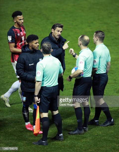 Jason Tindall Manager of AFC Bournemouth complains to the officials during the Sky Bet Championship match between Sheffield Wednesday and AFC...