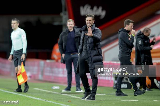 Jason Tindall of Bournemouth during the Sky Bet Championship match between AFC Bournemouth and Bristol City at Vitality Stadium on October 28 2020 in...