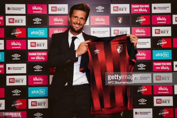 Jason Tindall poses as he is unveiled as the new manager of AFC Bournemouth at Vitality Stadium on August 08, 2020 in Bournemouth, England.