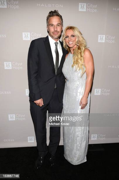 Jason Trawick and Britney Spears attend City Of Hope Honors Halston CEO Ben Malka With Spirit Of Life Award Red Carpet at Exchange LA on October 10...