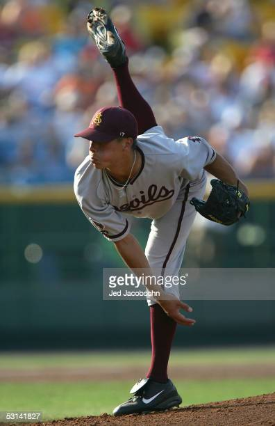 Jason Urquidez of the Arizona State Sun Devils pitches against the Florida Gators during Game 13 of the 59th College World Series at Rosenblatt...
