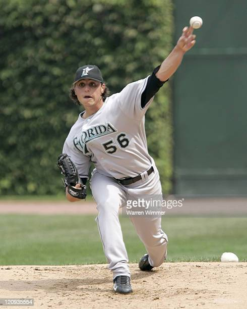 Jason Vargas of the Florida Marlins warms up before a game against the Chicago Cubs at Wrigley Field in Chicago Illinois on August 26 2005 The...