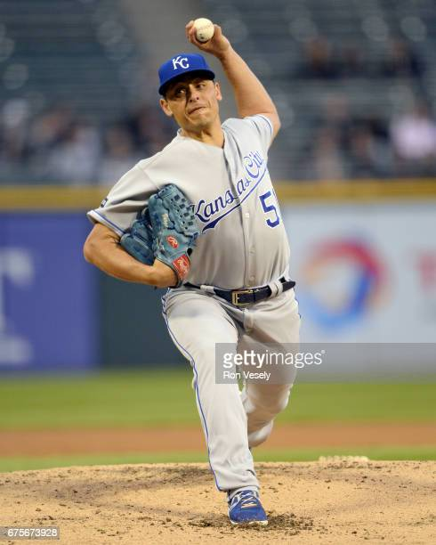 Jason Vargas of the Kansas City Royals pitches against the Chicago White Sox on April 24 2017 at Guaranteed Rate Field in Chicago Illinois The White...