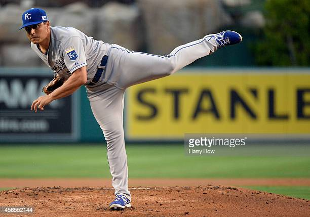 Jason Vargas of the Kansas City Royals pitches against the Los Angeles Angels in the first inning during Game One of the American League Division...