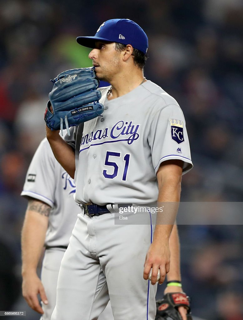 Jason Vargas #51 of the Kansas City Royals reacts in the sixth inning against the New York Yankees on May 22, 2017 at Yankee Stadium in the Bronx borough of New York City.