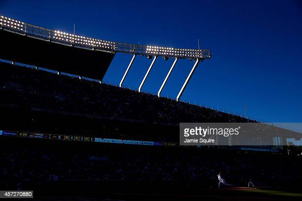 Jason Vargas of the Kansas City Royals throws a pitch in the fifth inning against the Baltimore Orioles during Game Four of the American League...