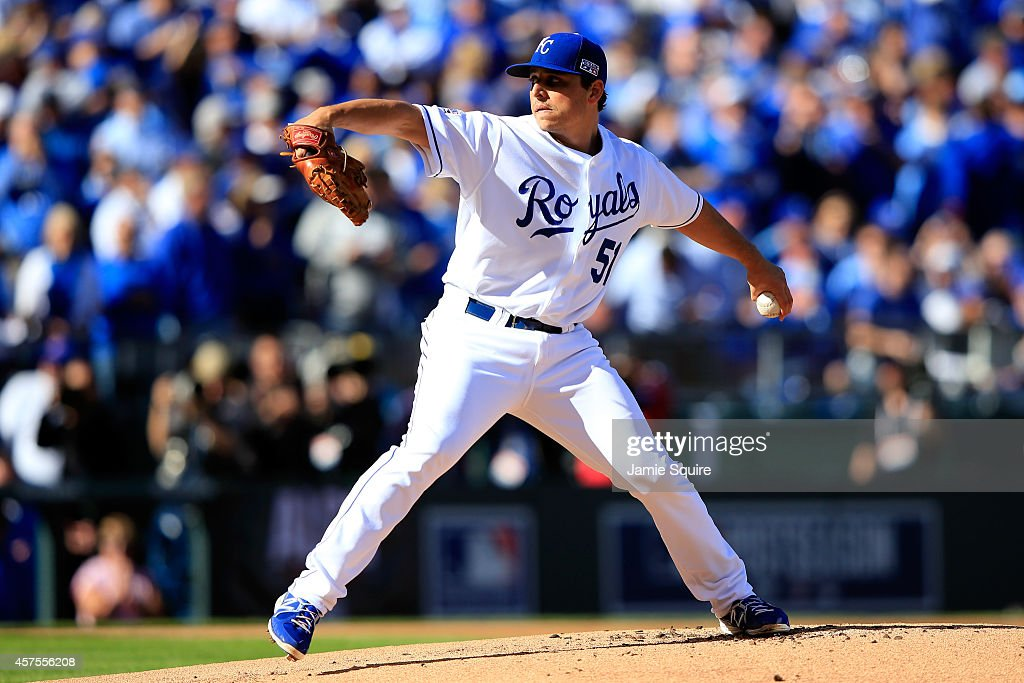 Jason Vargas #51 of the Kansas City Royals throws a pitch in the first inning against the Baltimore Orioles during Game Four of the American League Championship Series at Kauffman Stadium on October 15, 2014 in Kansas City, Missouri.