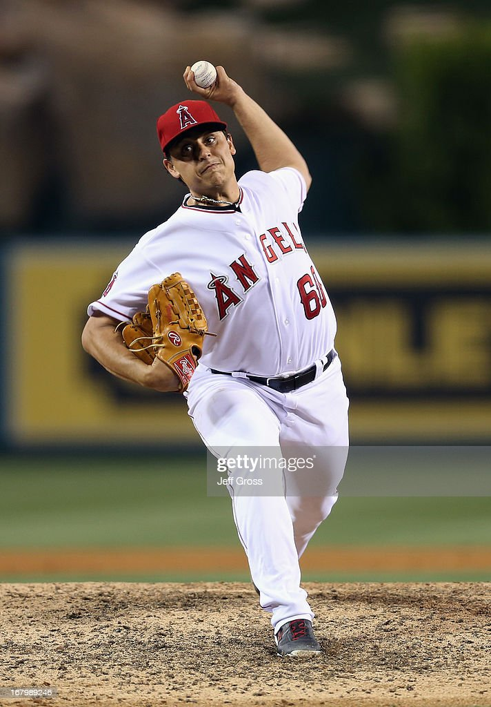 Jason Vargas #60 of the Los Angeles Angels of Anaheim pitches against the Baltimore Orioles in the ninth inning at Angel Stadium of Anaheim on May 3, 2013 in Anaheim, California. The Angels defeated the Orioles 4-0.