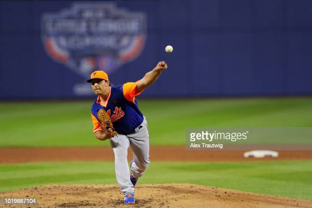 Jason Vargas of the New York Mets pitches during the 2018 Little League Classic against the Philadelphia Phillies at Historic Bowman Field on Sunday...