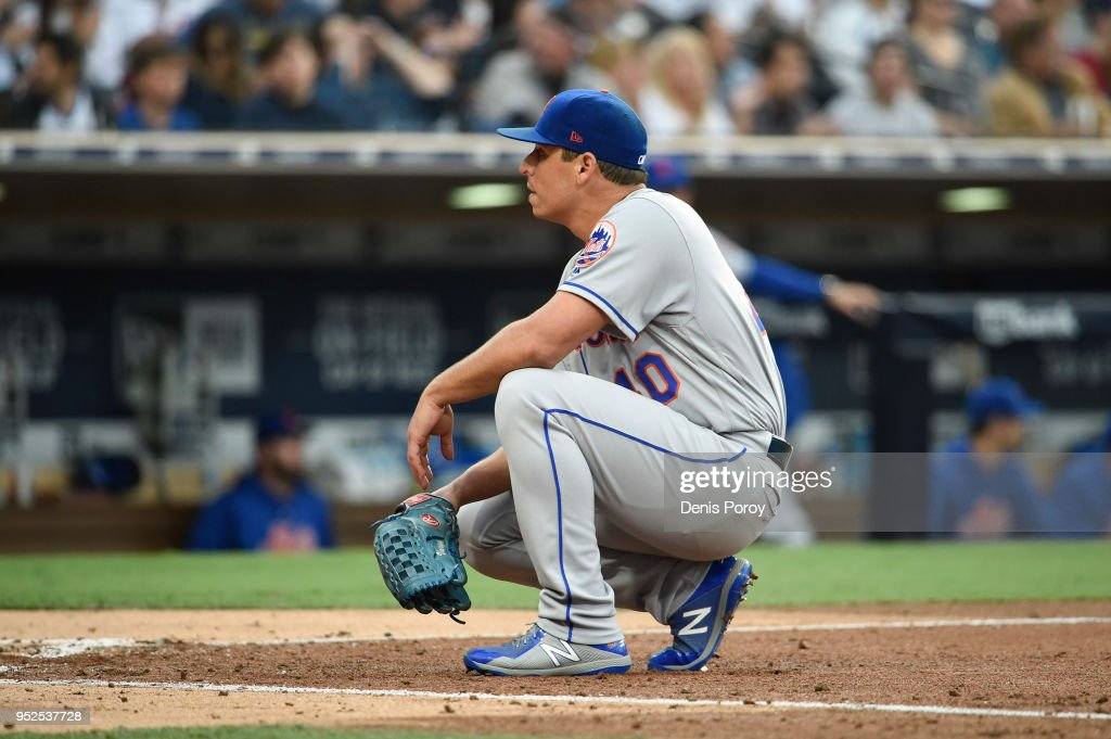 Jason Vargas #40 of the New York Mets waits by the plate after a run scored during the third inning of a baseball game against the San Diego Padres at PETCO Park on April 28, 2018 in San Diego, California.